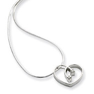 Sterling Silver White Ice .02ct Diamond Heart Necklace