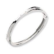 Sterling Silver White Ice .03ct Diamond Crossover Bangle Bracelet