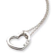 Sterling Silver White Ice .03ct Diamond Heart Necklace