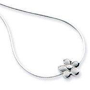 Sterling Silver White Ice .02ct Diamond Flower  Necklace