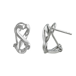 Sterling Silver Rhodium Plated Two Hearts Leverback Earrings