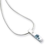 Sterling Silver White Ice .02ct. Diamond and Blue Topaz Necklace