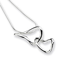 Sterling Silver White Ice .015ct. Diamond Heart Necklace
