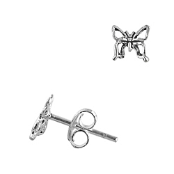 Sterling Silver Miniature Butterfly Stud Earrings