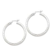 Sterling Silver Diamond Cut Square Hoop Earrings