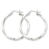 Sterling Silver 3.00mm Twisted Hoop Earrings