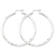 Sterling Silver Satin & Diamond Cut Twist Hoop Earrings