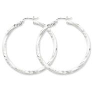 Sterling Silver 3.00mm Polished & Satin Diamond Cut Twisted Hoop Earrings