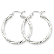 Sterling Silver 3.00mm Polished & Satin Twisted Hoop Earrings
