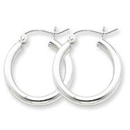 Sterling Silver 2.5mm Round Hoop Earrings