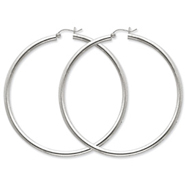 Sterling Silver 3mm Round Hoop Earrings