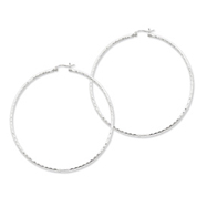 Sterling Silver 2mm Polished Diamond Cut Hoop Earrings