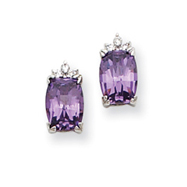 Sterling Silver Purple and Clear Cubic Zirconia Post Earrings