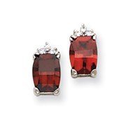 Sterling Silver Red and Clear Cubic Zirconia Post Earrings