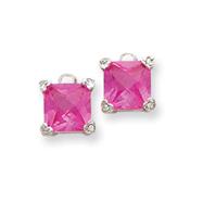 Sterling Silver Pink Cubic Zirconia Earrings