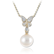 14K Yellow Gold Pearl & Diamond Necklace