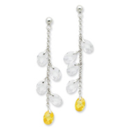 Sterling Silver Yellow Crystal Earrings