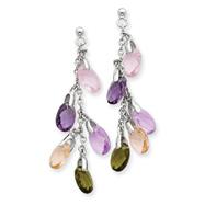 Sterling Silver Multi-color Crystal Earrings