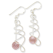 Sterling Silver Pink Cubic Zirconia Ball Fancy Earrings