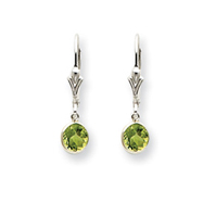 Sterling Silver Peridot Leverback Earrings
