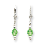 Sterling Silver Green Crystal Leverback Earrings