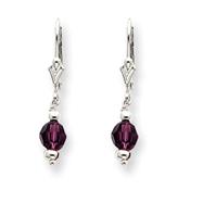 Sterling Silver Purple Crystal Leverback Earrings
