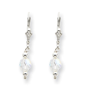 Sterling Silver Aurora Crystal Leverback Earrings