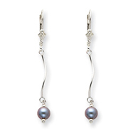 Sterling Silver Grey Cultured Pearl Leverback Earrings