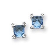 Sterling Silver Blue & Clear Cubic Zirconia Earrings