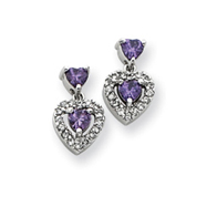 Sterling Silver Purple & Clear Cubic Zirconia Heart Shape Earrings