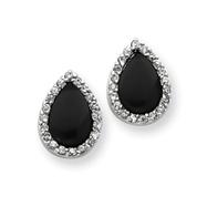 Sterling Silver Tear Drop Shape Cubic Zirconia And Onyx Earrings