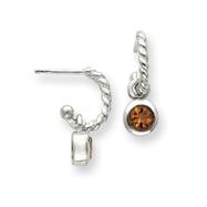 Sterling Silver Twist Hoops With Round Bezel Citrine Earrings