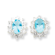 Sterling Silver Light Blue and Clear Cubic Zirconia Earrings
