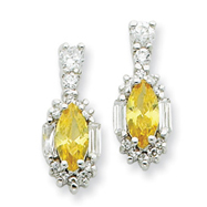 Sterling Silver Yellow And Clear Cubic Zirconia Earrings