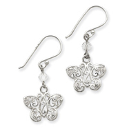 Sterling Silver Cubic Zirconia And Filigree Butterfly Dangle Earrings