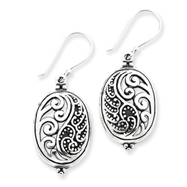 Sterling Silver Antique Oval Ying Yang Dangle Earrings