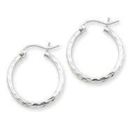 Sterling Silver 2.00mm Diamond Cut Hoop Earrings