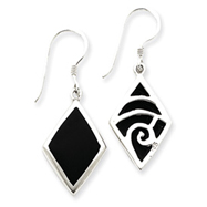 Sterling Silver Black Stone Dangle Earrings