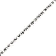 14K White Gold 3.1mm Diamond Cut  Rope Chain