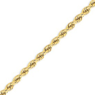 14K Gold  5mm Handmade Regular Rope Chain