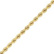 14K Gold  5mm Handmade Regular Rope Chain
