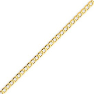14K Gold 3.35mm Semi-Solid Curb Link Chain