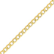 14K Gold 8.0mm Semi-Solid Curb Link Chain