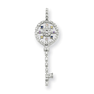 Sterling Silver Multi-CZ Key Pendant