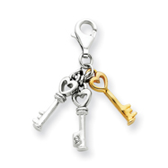 Sterling Silver With Vermeil Diamond Accent Keys Pendant