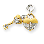 Sterling Silver & Vermeil CZ Key And Heart Lock Pendant
