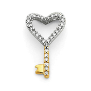 14K Gold & Rhodium Diamond Heart Key Pendant