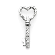 14K  White Gold Diamond Key Pendant