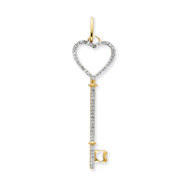 14K Gold Diamond Key Pendant