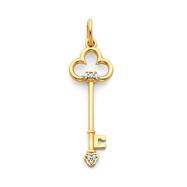 14K Gold Diamond Key Pendant